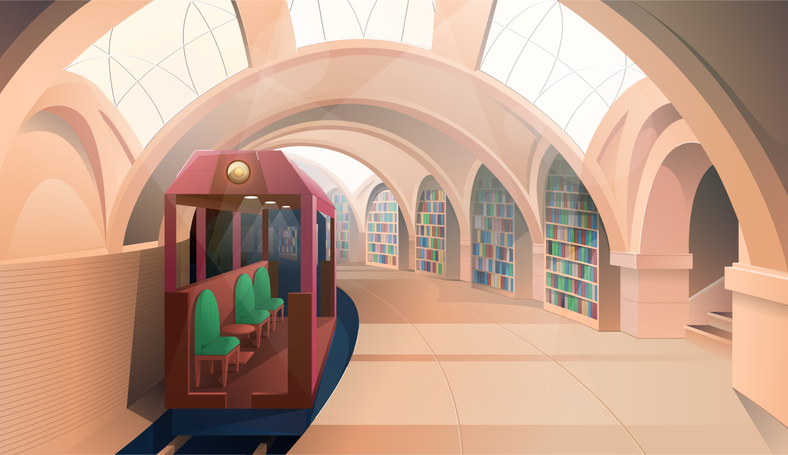 Reimagining the New York City Hall subway station as a library.
