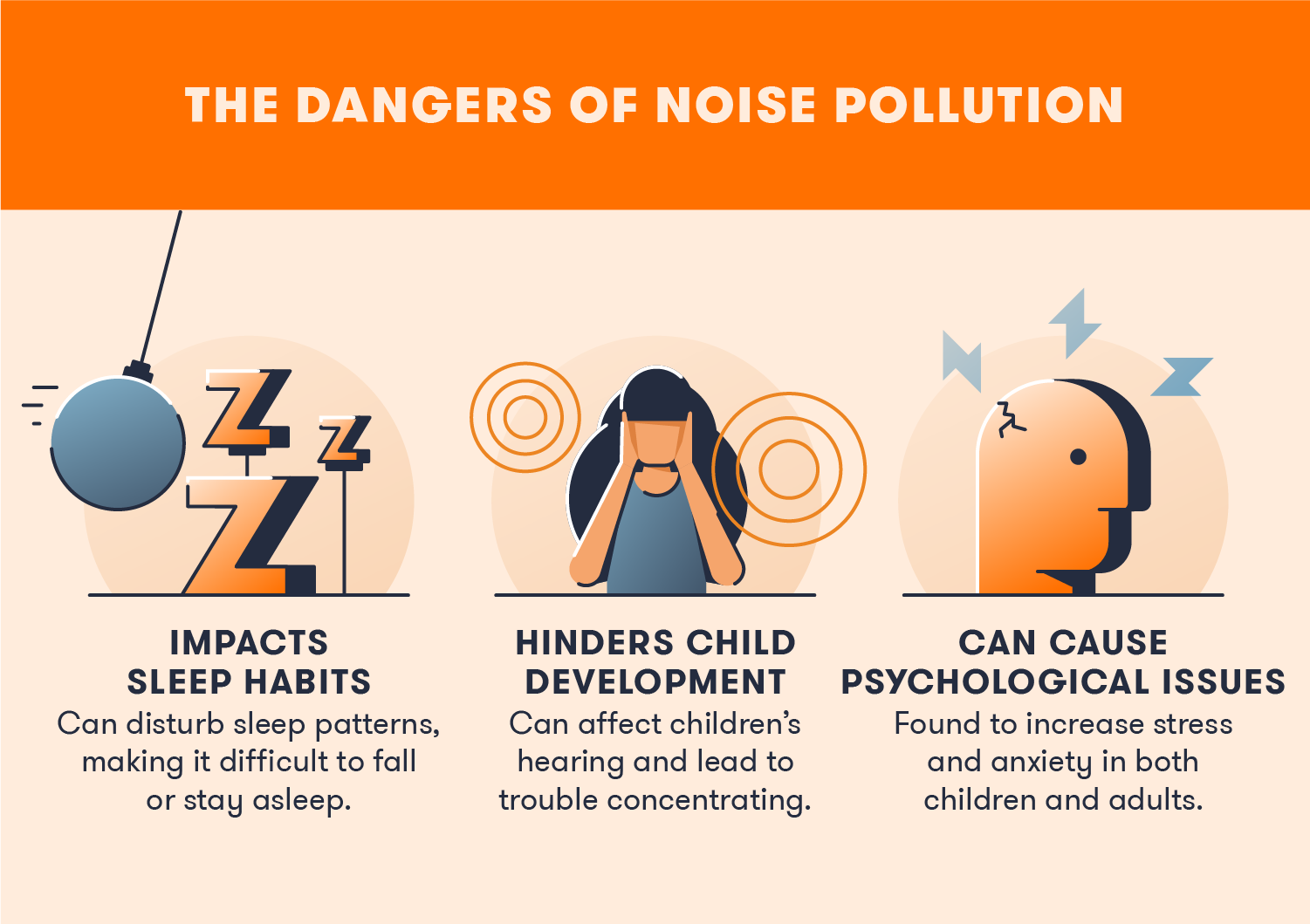 Noise pollution is dangerous to everyone and can lead to developmental or psychological problems.