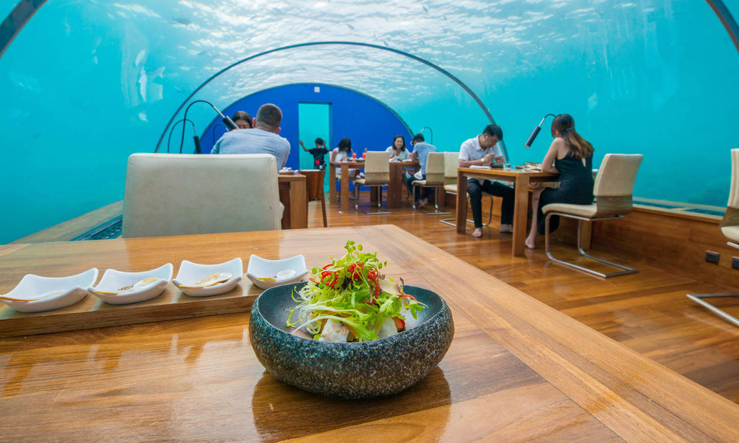 Ithaa is an underwater restaurant.