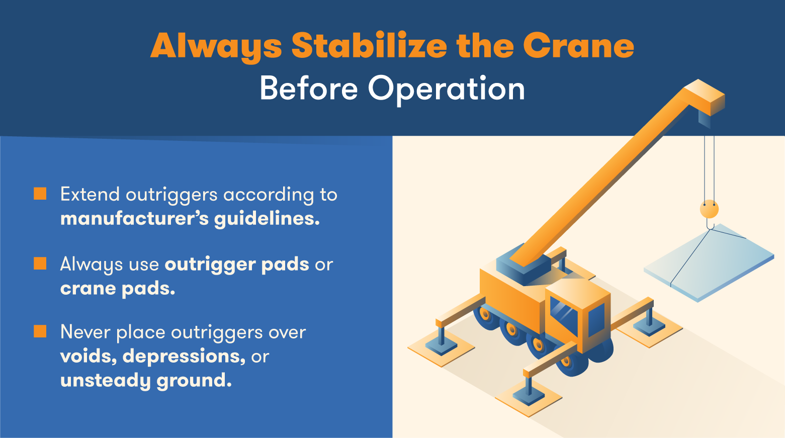 Always stabilize a crane with outriggers before a lift.