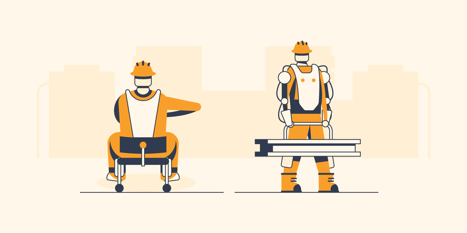 Construction workers using exoskeletons