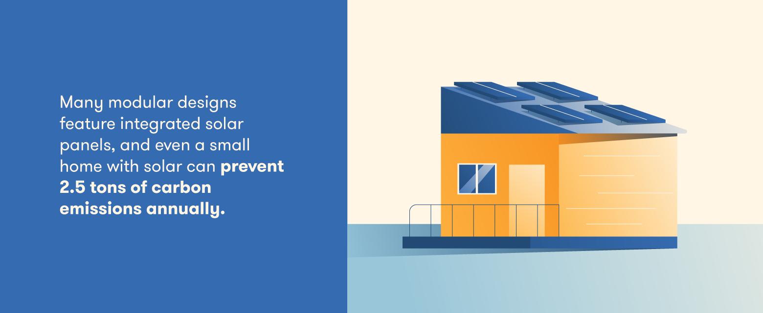 Modular construction integrates solar panels that cut carbon emissions.