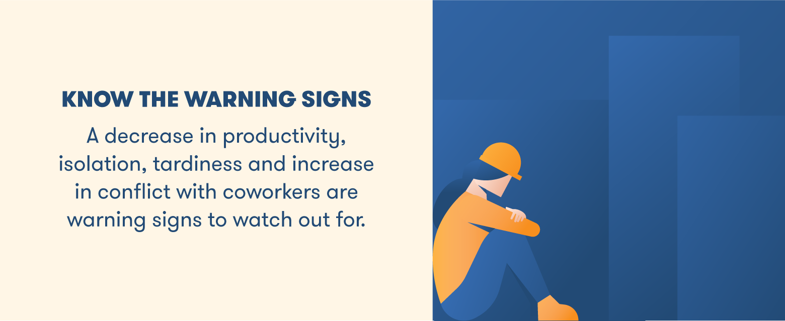 know the warning signs illustration of construction worker sitting with head down