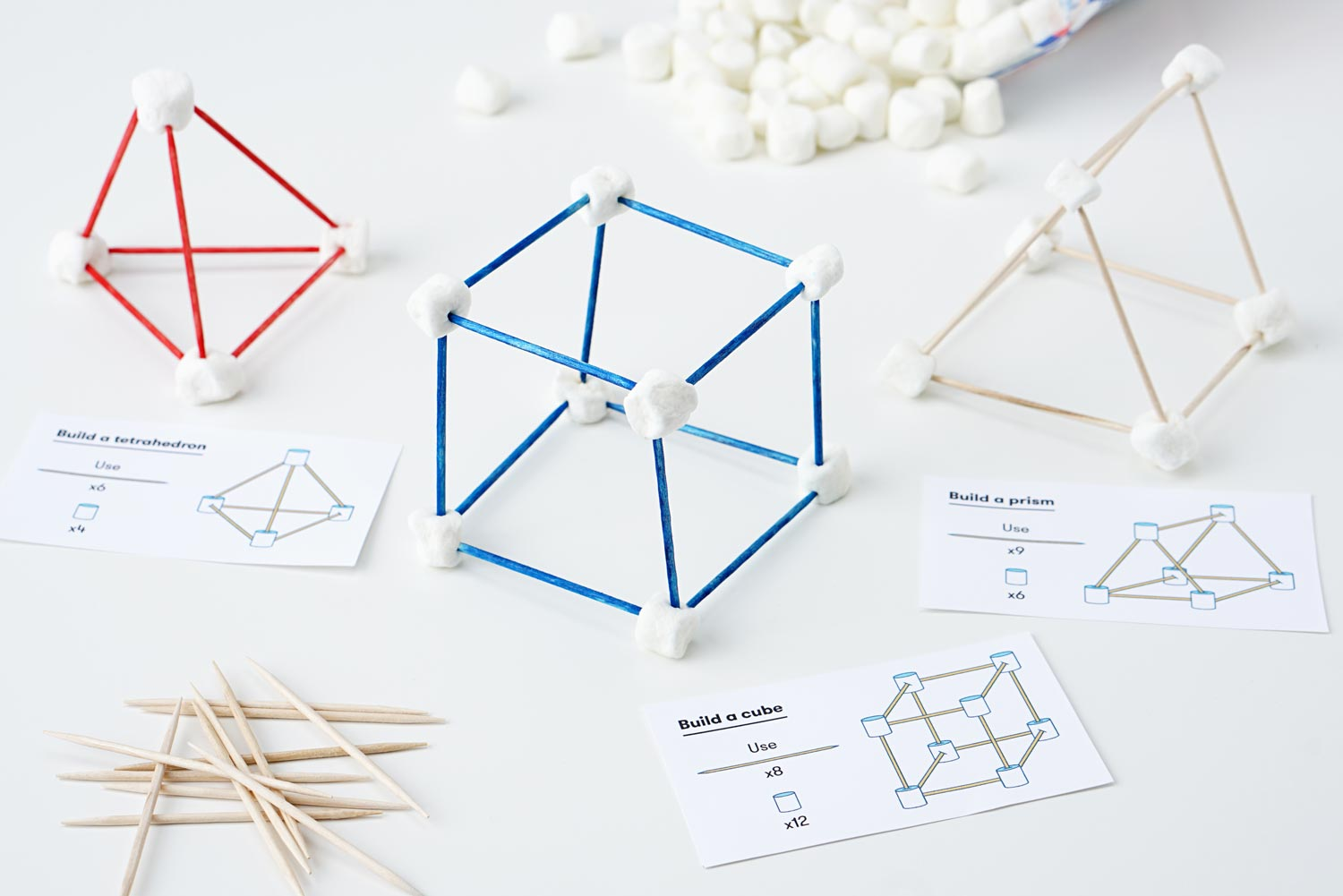 Geometric shape building activity made from marshmallows and toothpicks