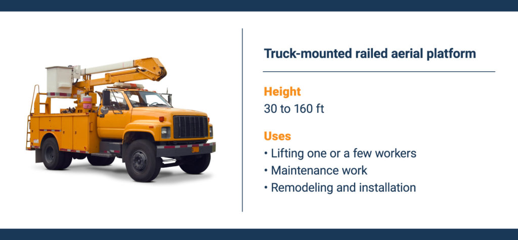 A cherry picker is a truck mounted railed aerial platform.