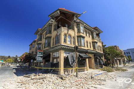 Disaster damage on an older building