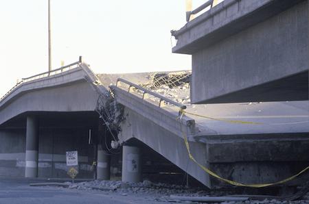 Earthquake damage on an overpass