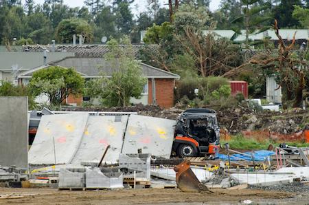 Tornado damage on a construction site