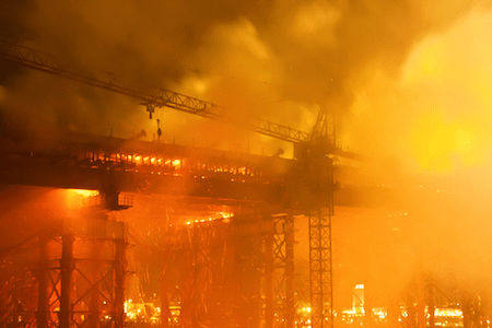 Fire at a construction site