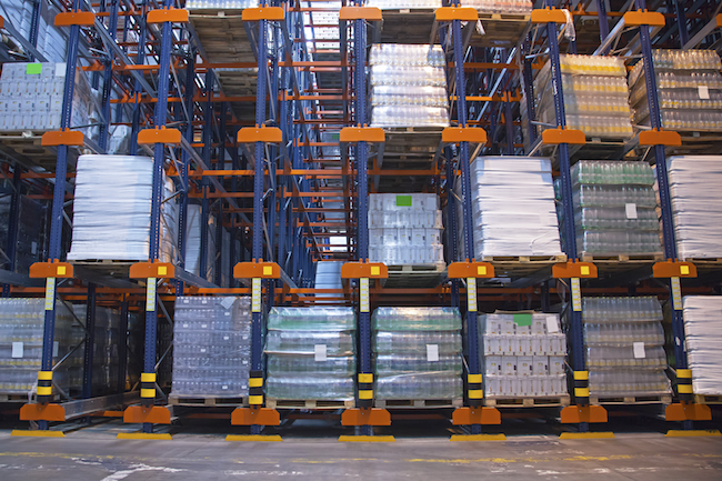 inventory stacked in a warehouse