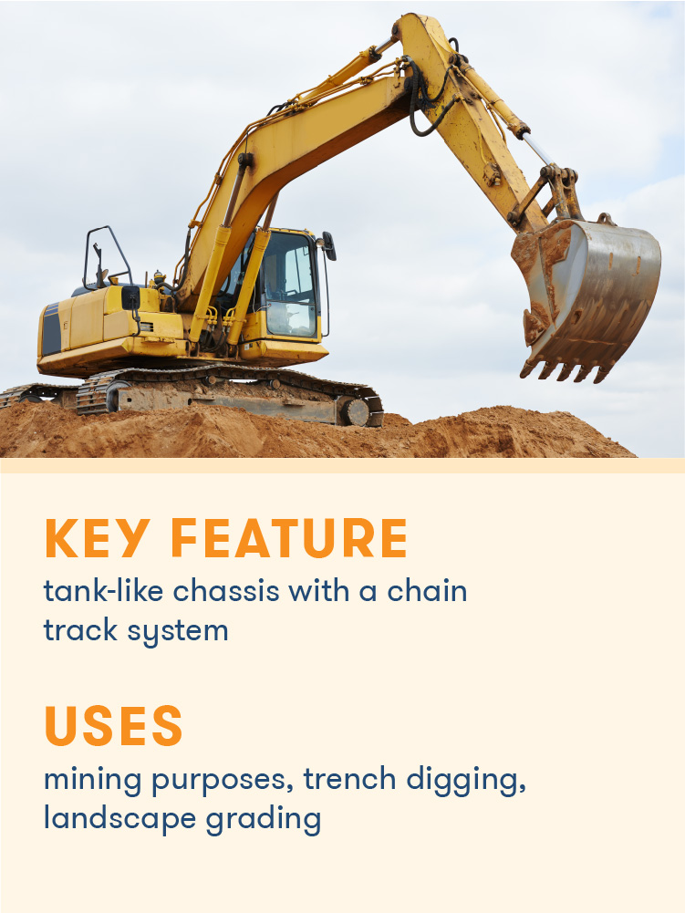 A crawler's chain track system allows it to excel at digging trenches and mining purposes.
