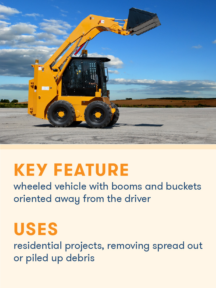 A skid steer excavator uses a forward-facing bucket to remove spread out debris.