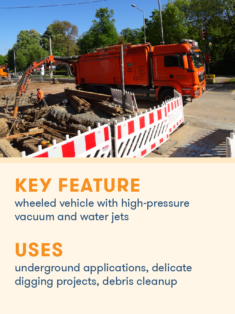 A suction excavator using a high pressure vacuum for underground project.
