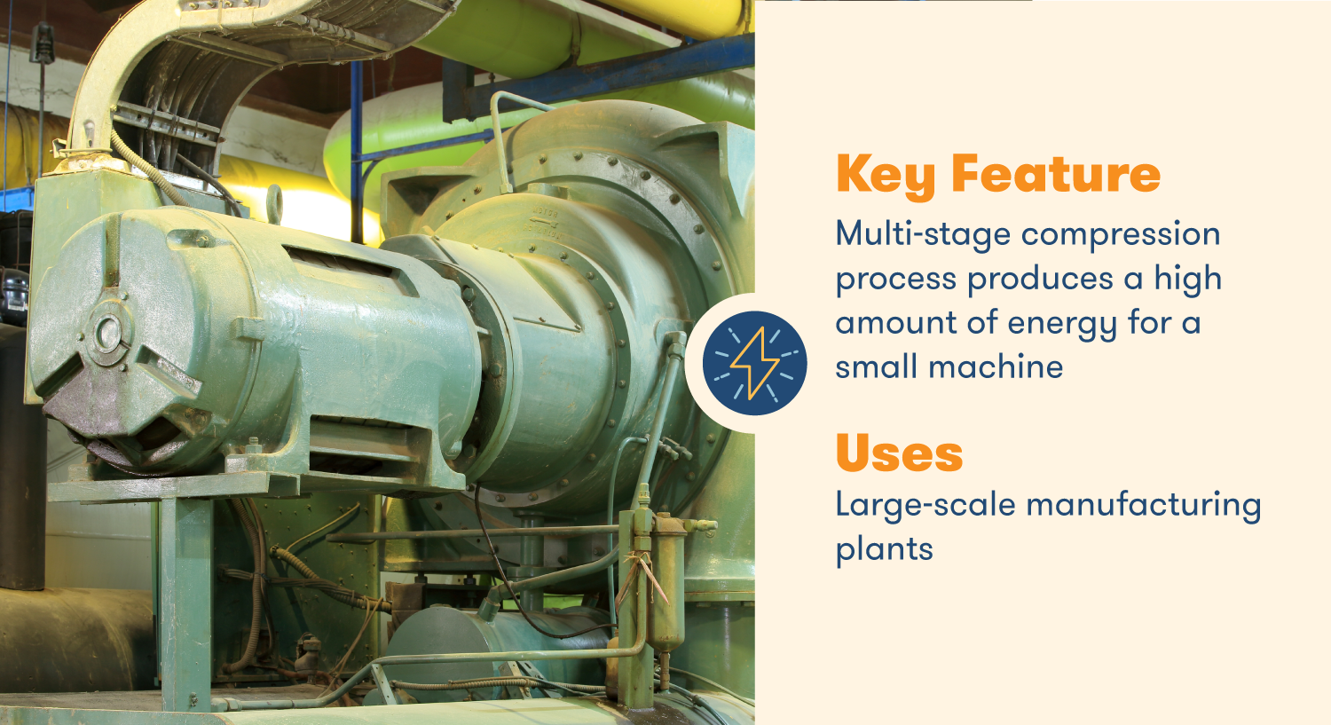 Centrifugal Compressors produce a high amount of energy for large-scale manufacturing plants.