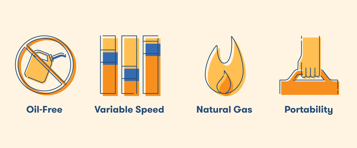 The features to consider with any air compressor types are whether it's oil-free, variable speed, natural gas, and portability.