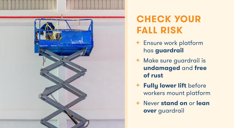 Checklist for avoiding falling off a scissor lift