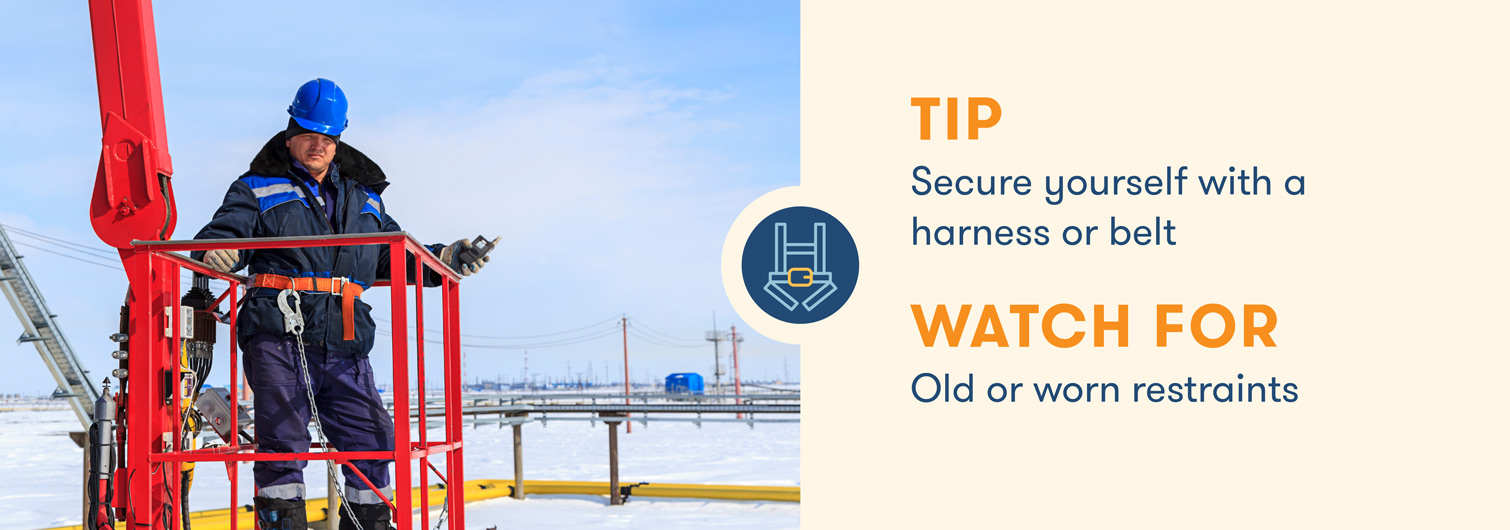 aerial lift safety secure yourself with a harness or belt