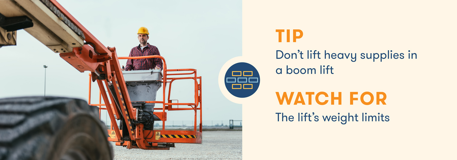 aerial lift safety don't lift heavy supplies in boom lift