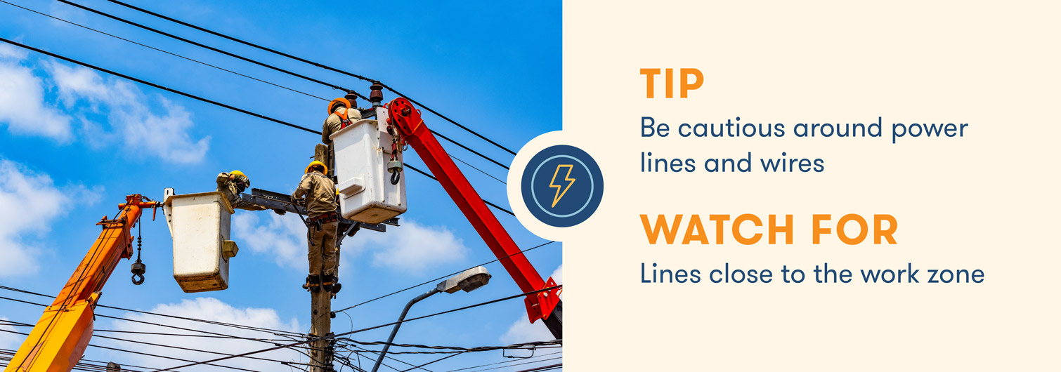 aerial lift safety caution around power lines