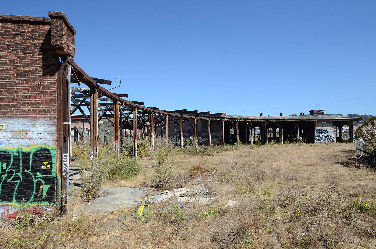 The crumbling Bayshore Roundhouse.