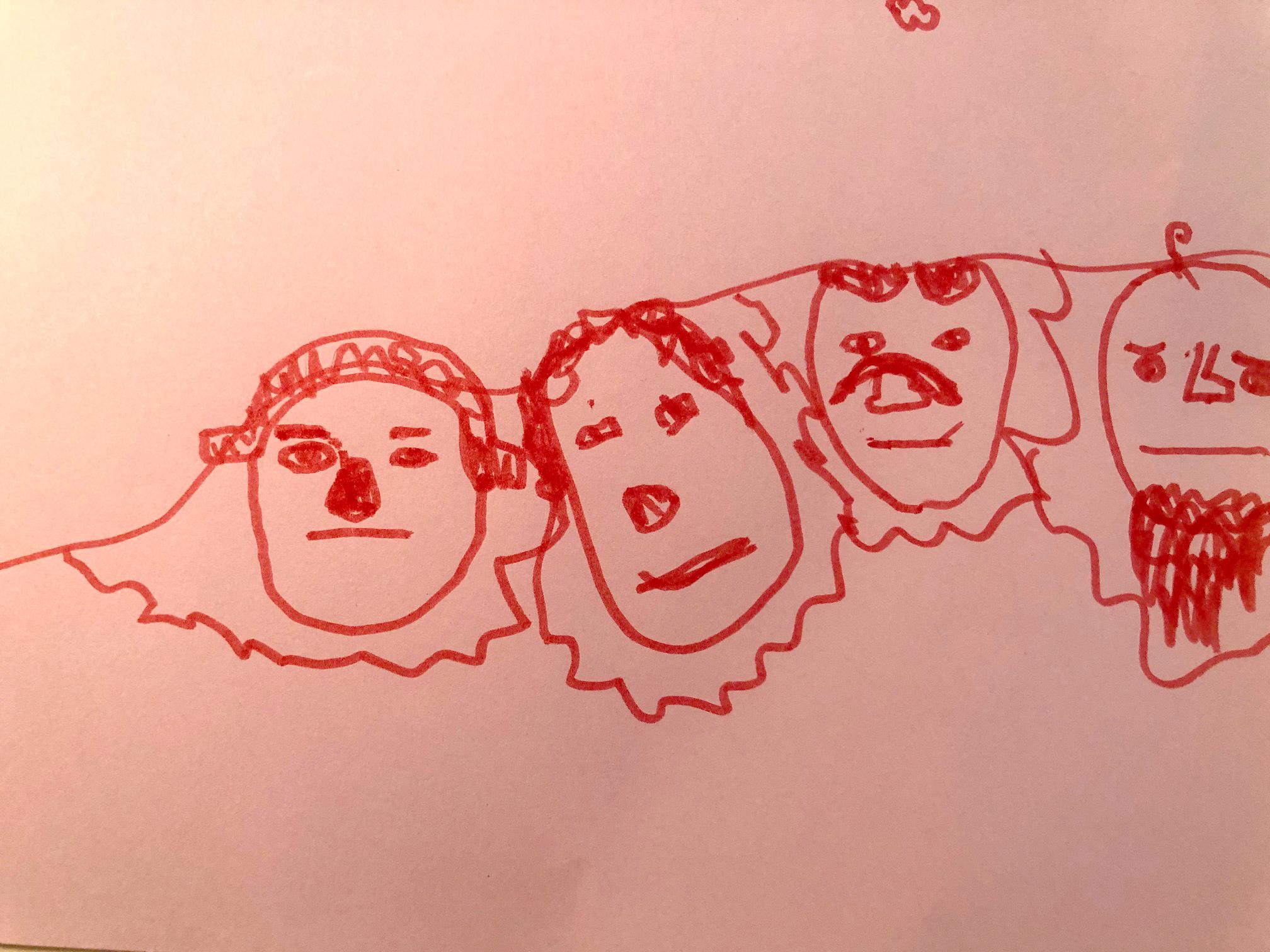 Kids Drawing Mt Rushmore