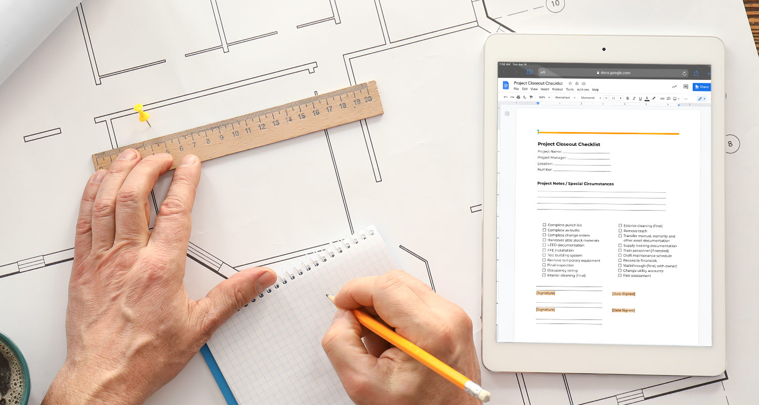 An architect drafting blueprints while reviewing a final closure checklist