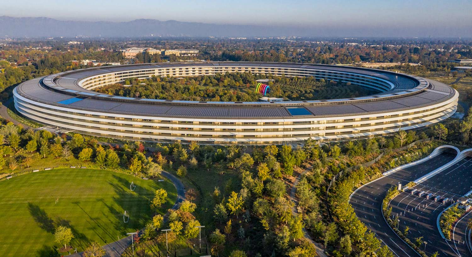 Aerial view of circular Apple Park campus