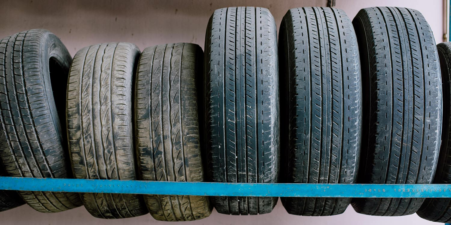A line of car tires