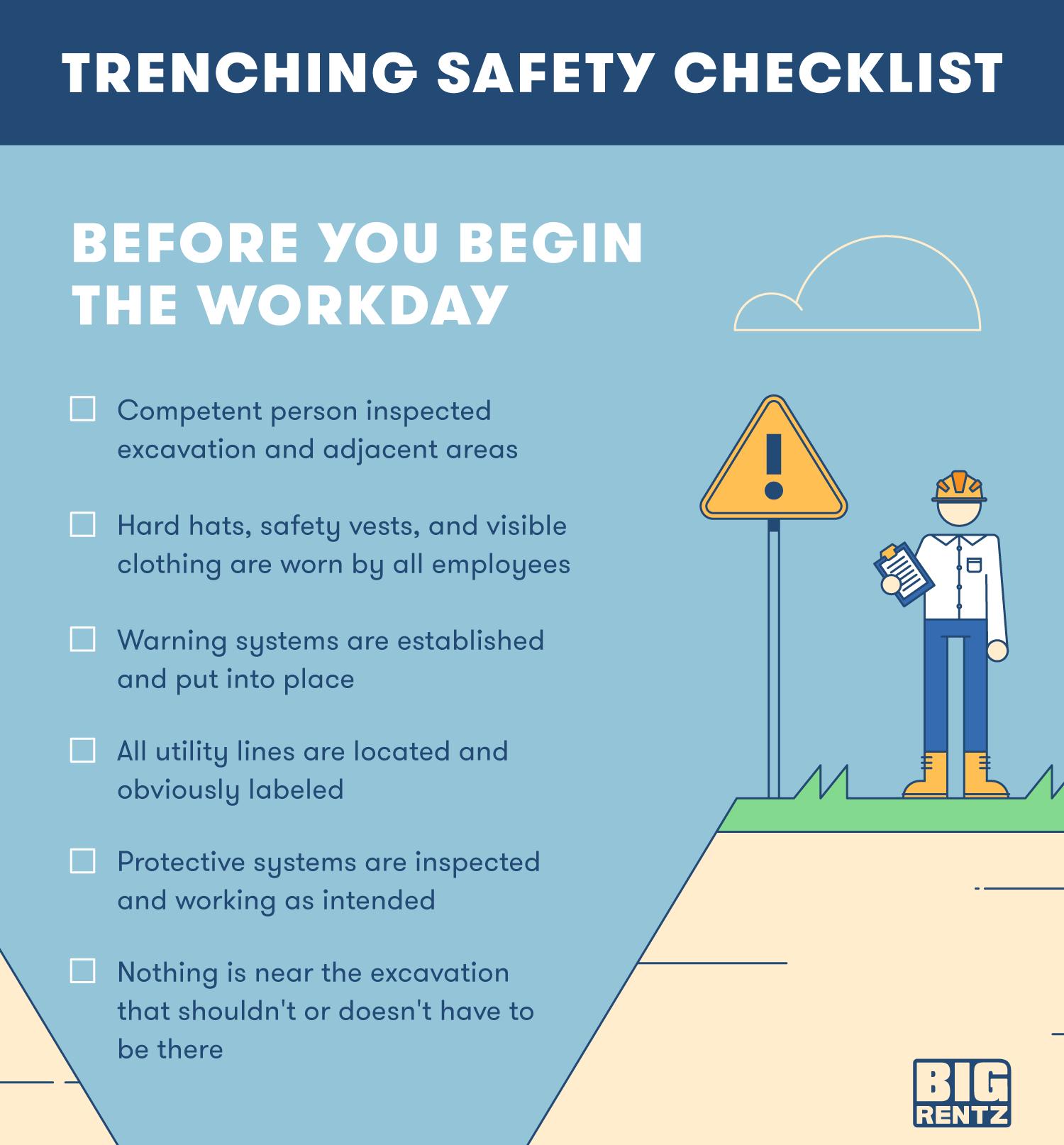 BigRentz trenching safety workday checklist