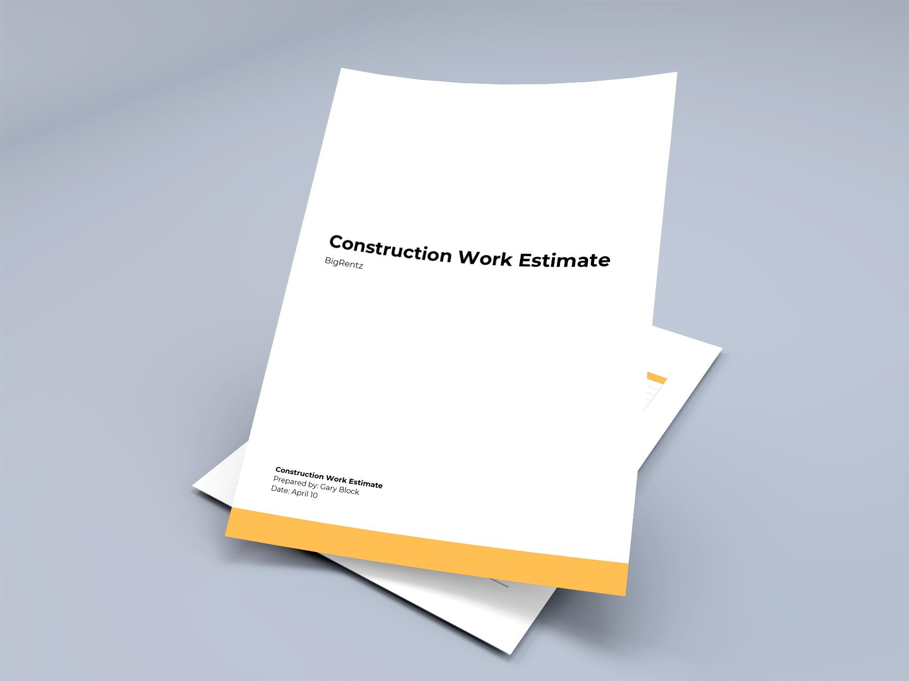 Construction Estimate Template (Free Downloadable PDF, DOC, EXCEL)
