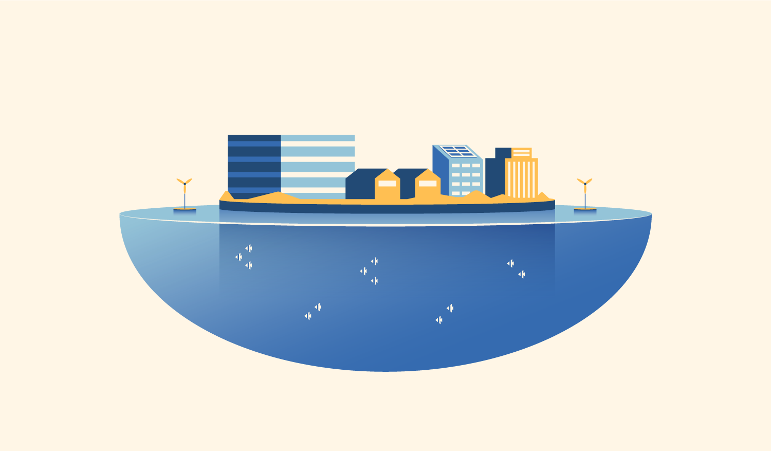 Illustration of a floating city, which would provide climate-resilient housing for communities threatened by rising sea levels.