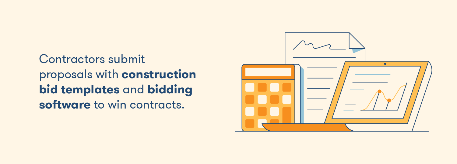 Contractors submit proposals with construction bid templates and bidding software to win contracts