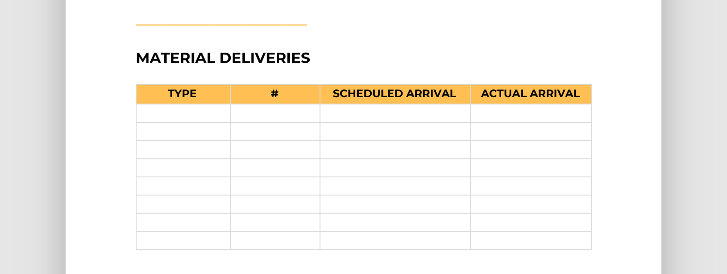 Screencap of material deliveries section of report