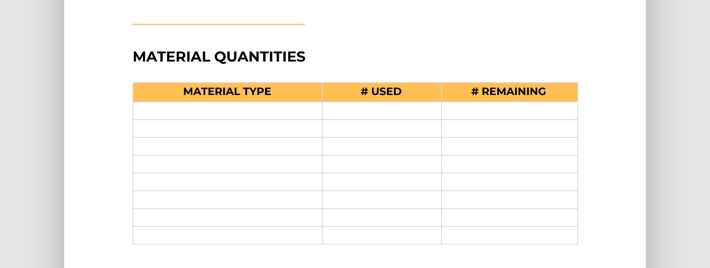Screencap of material quantities section of report