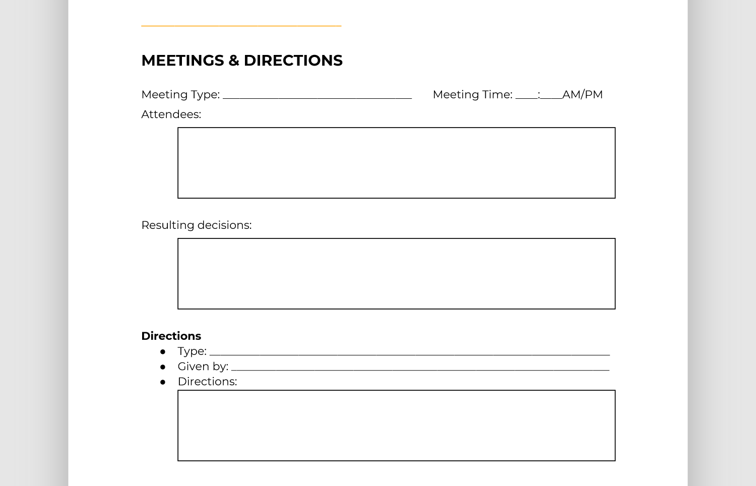 Screencap of meetings and directions section of report