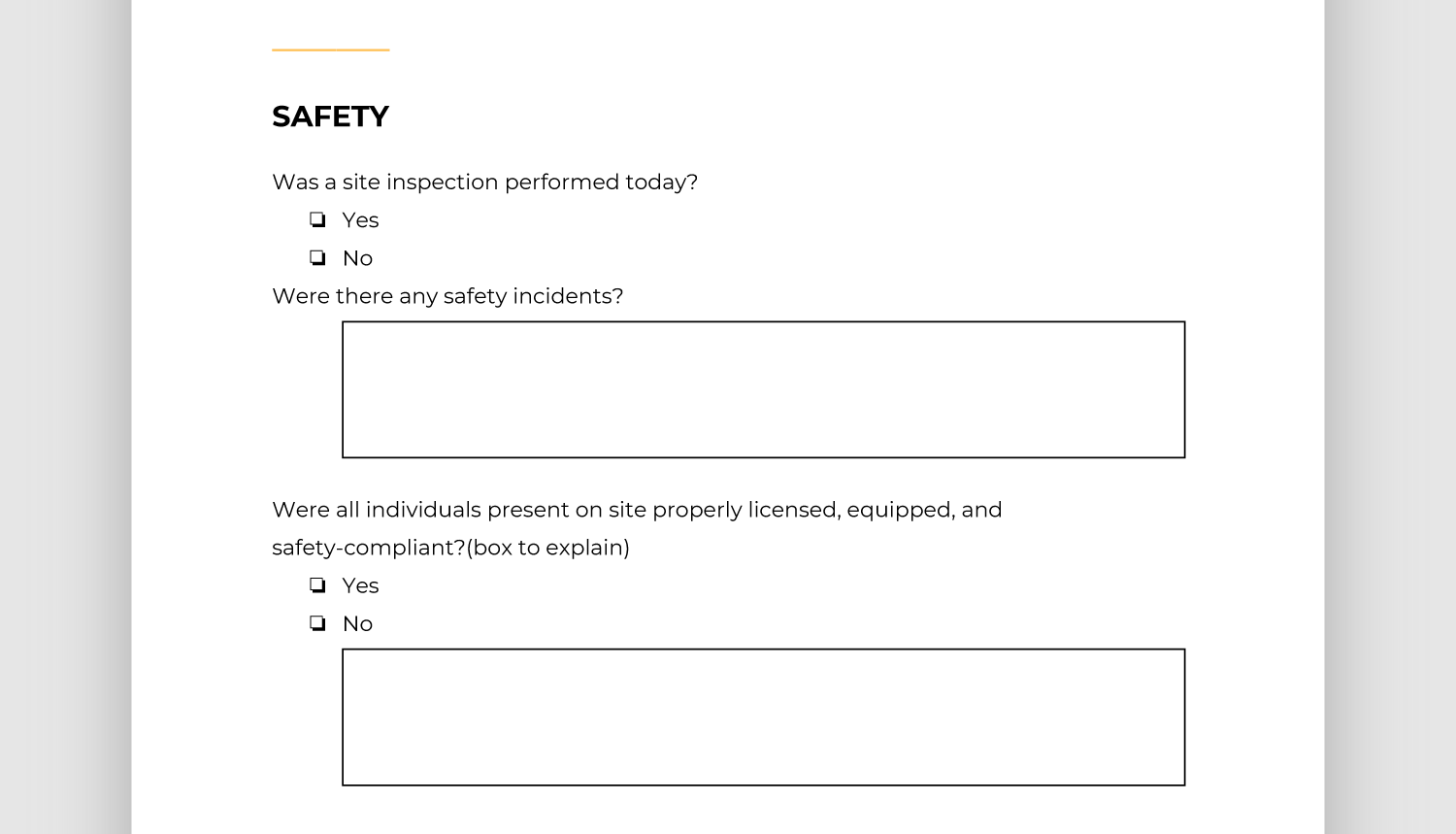 Screencap of safety section of report