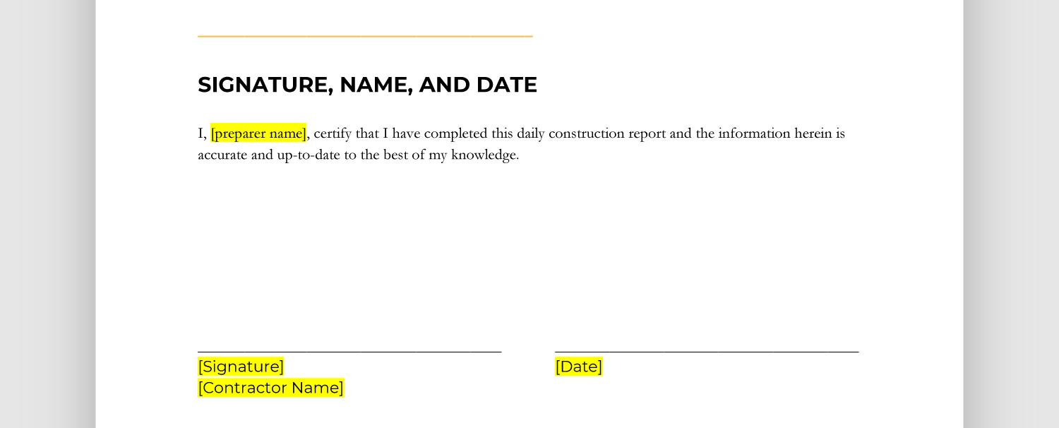 Screencap of signature, name, and date section of report