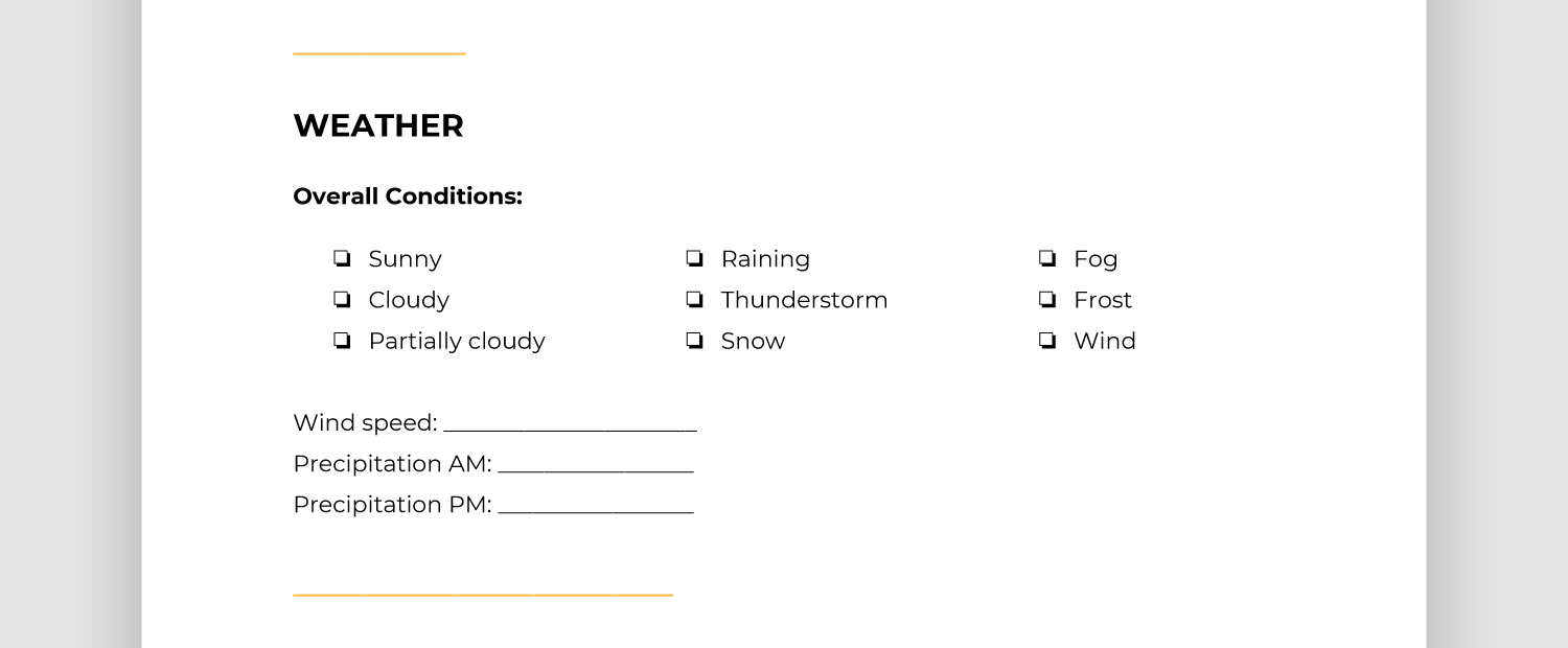Screencap of weather section of report