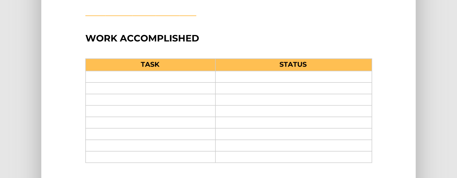 Screencap of work accomplished section of report