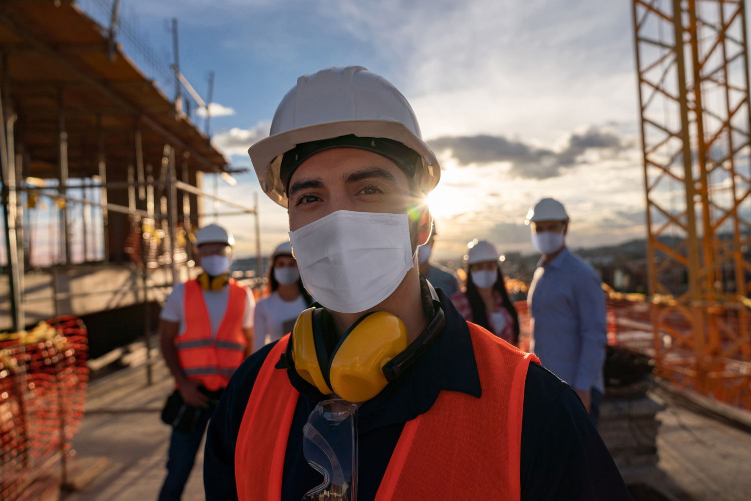 construction worker wearing mask and PPE