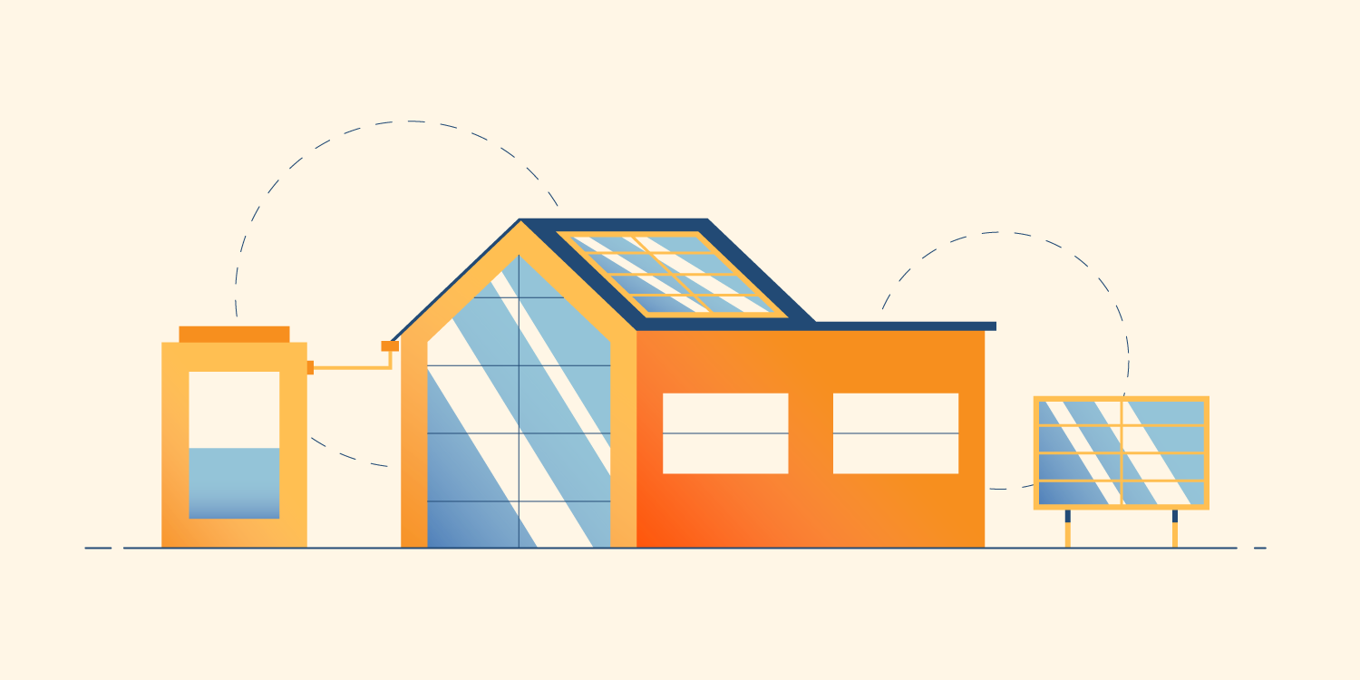 Illustration of eco-friendly buildings