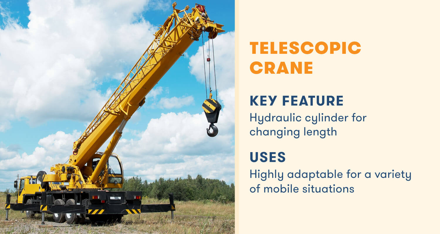 telescopic crane key feature hydrolic cylinder for changing length
