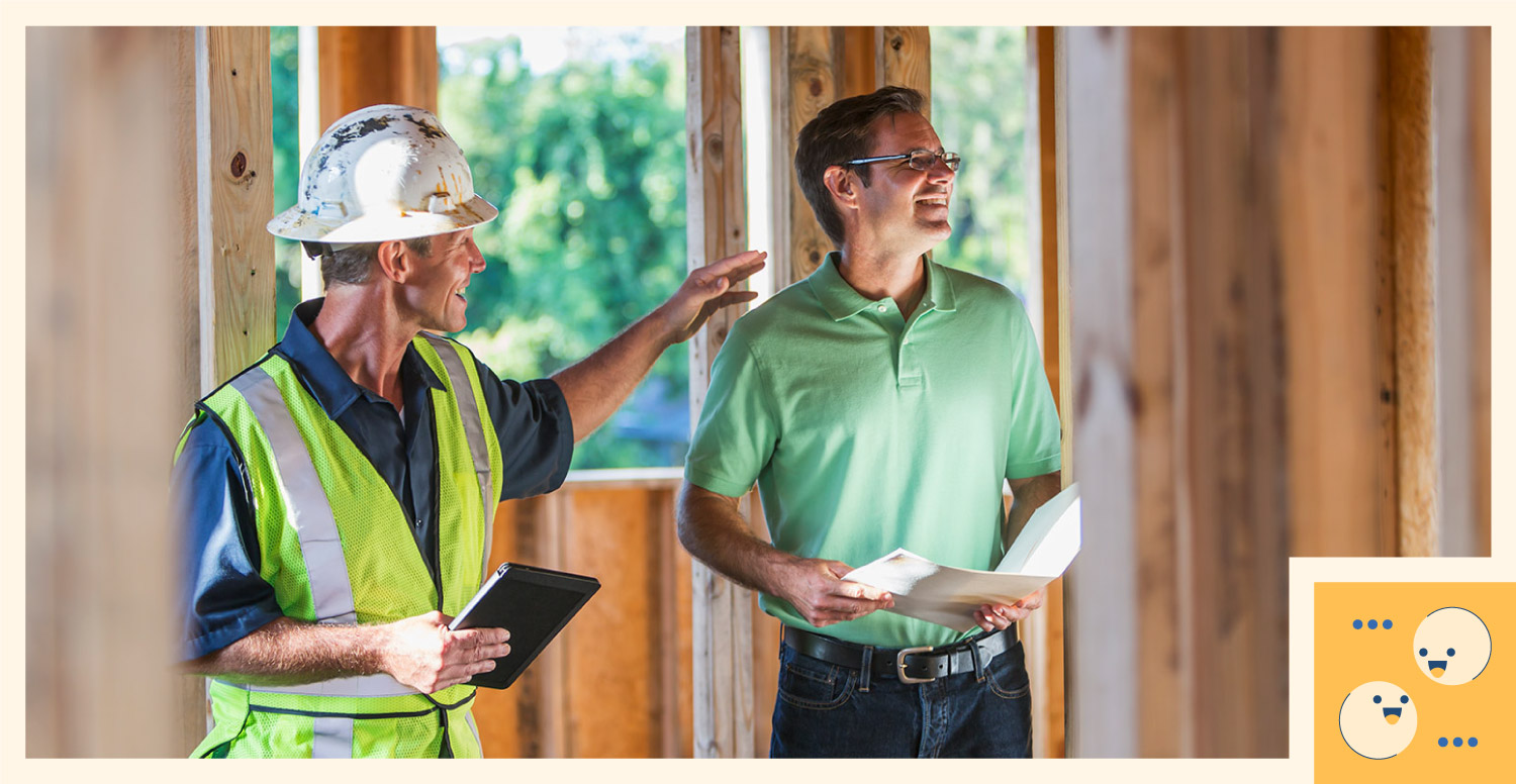 A construction worker communicates the status of a project with the client.