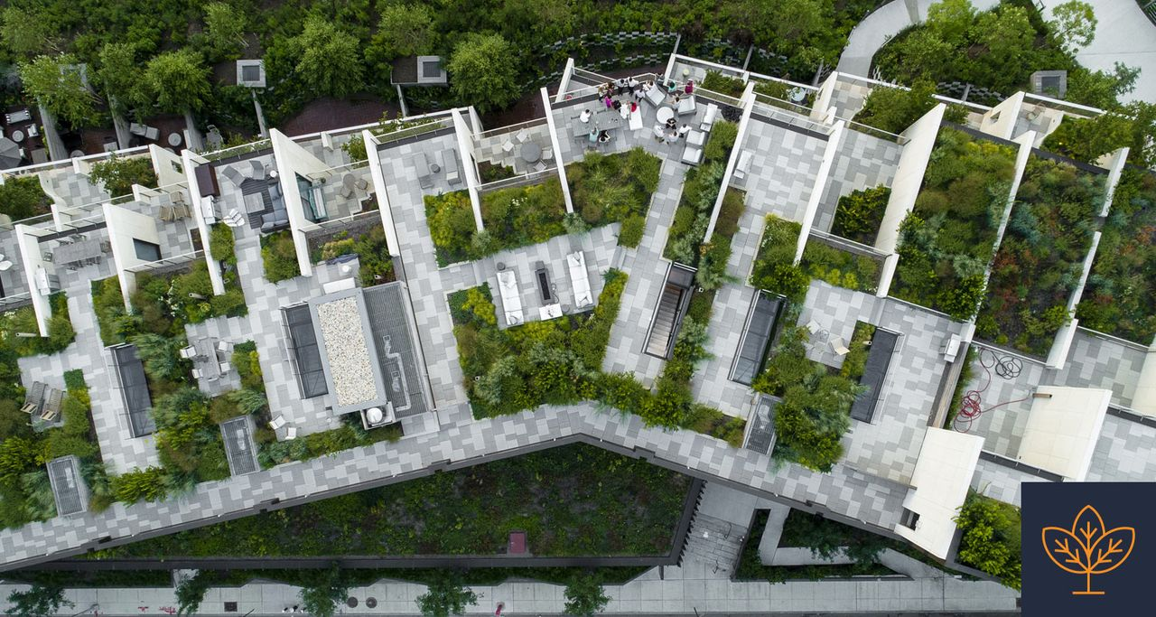 building constructed with rooftop greenery