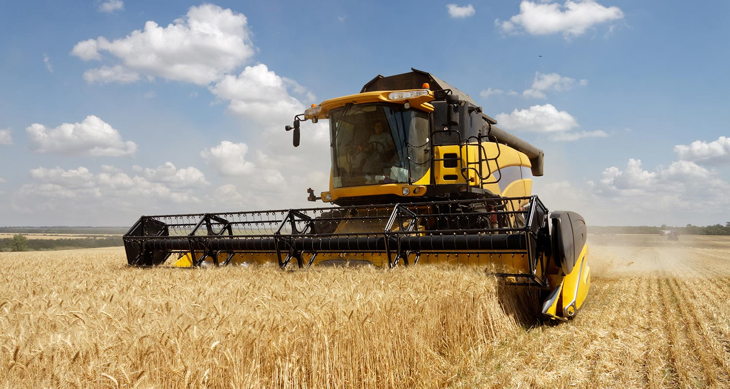a harvester in a giant field