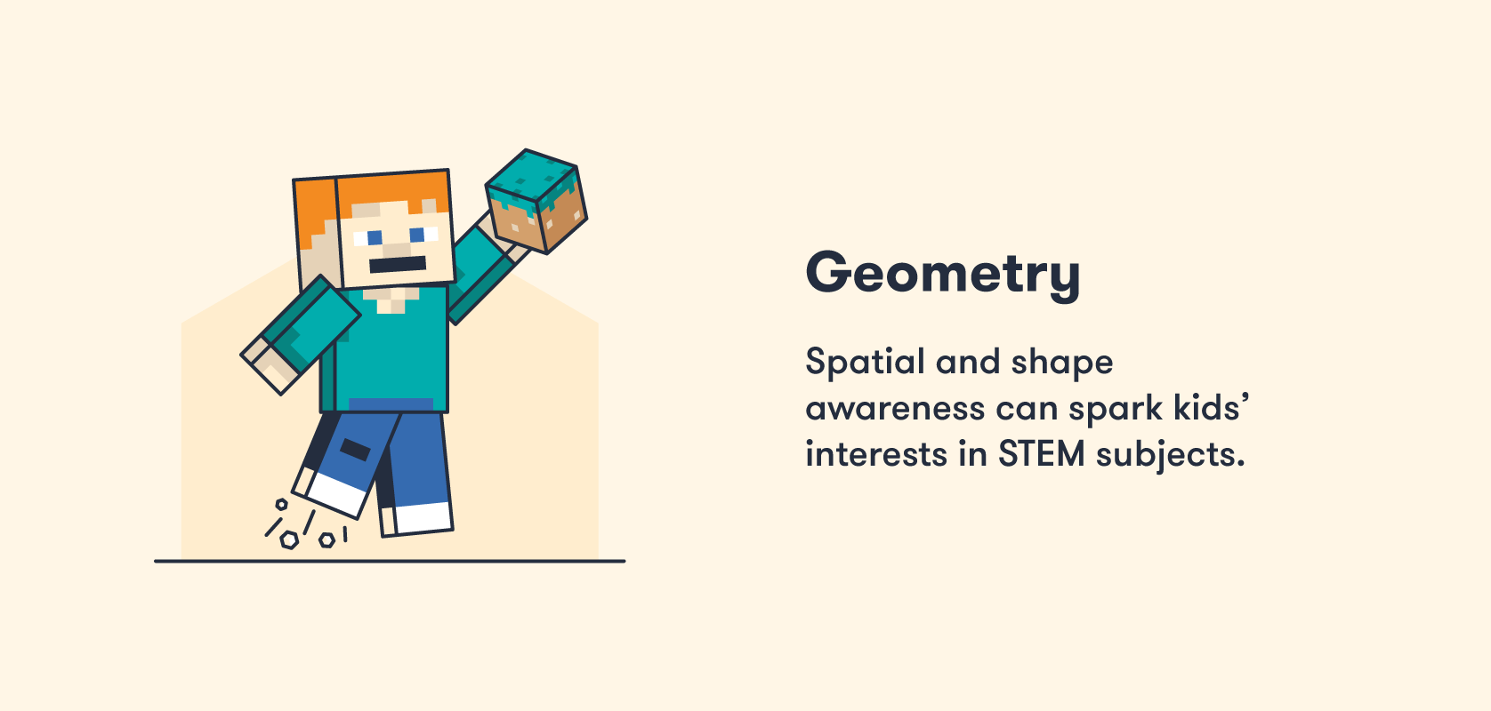 Minecraft teaches kids spatial awareness and geometry.