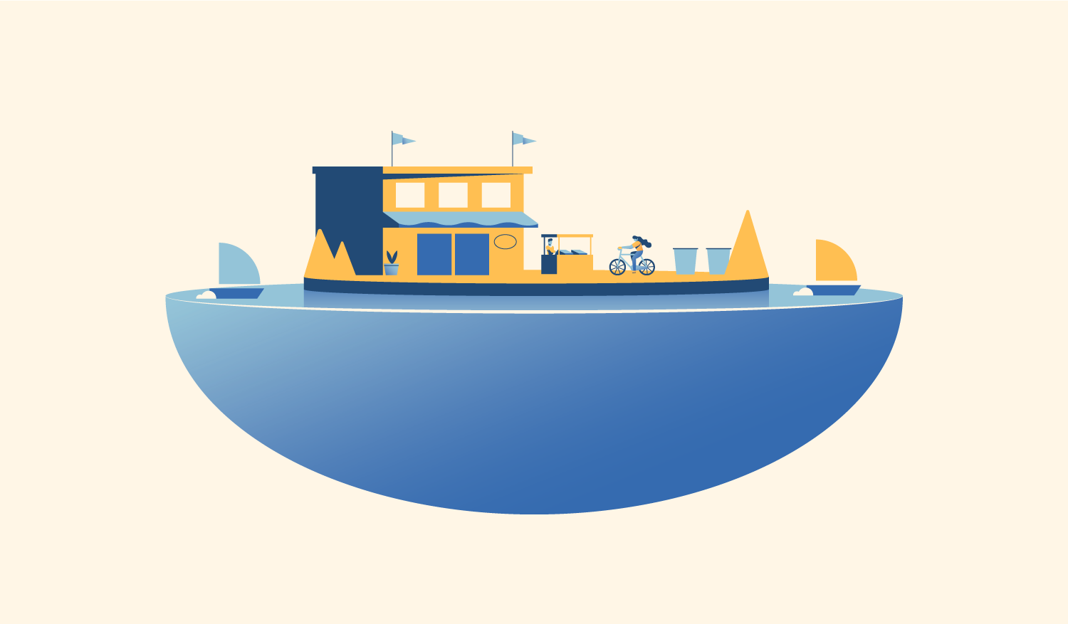 A floating city platform that contains a community sharing hub.