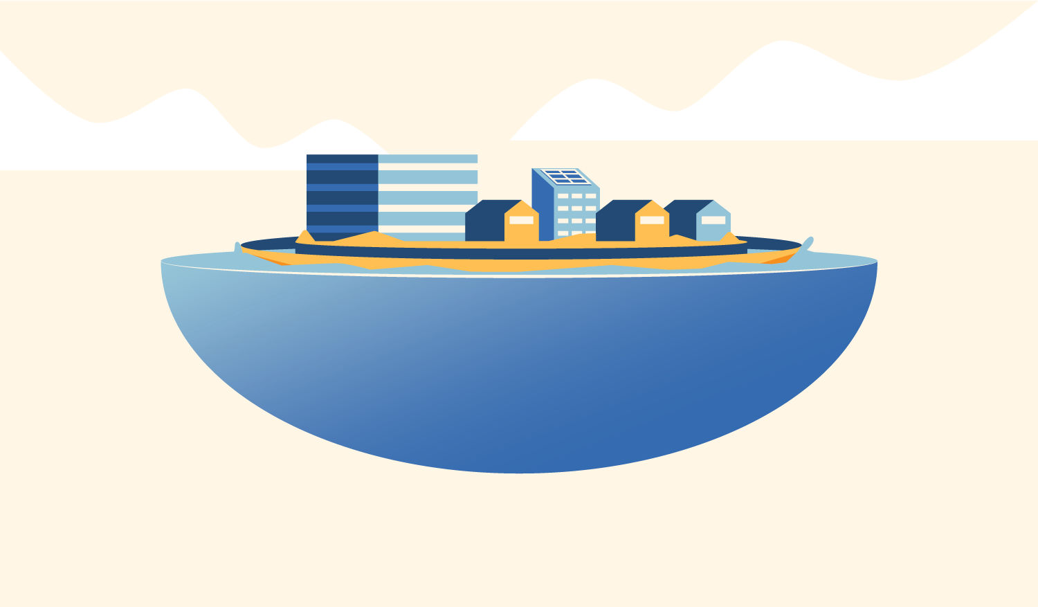 Floating cities would be protected from natural disasters due to their materials, breakwaters, and low center of gravity.