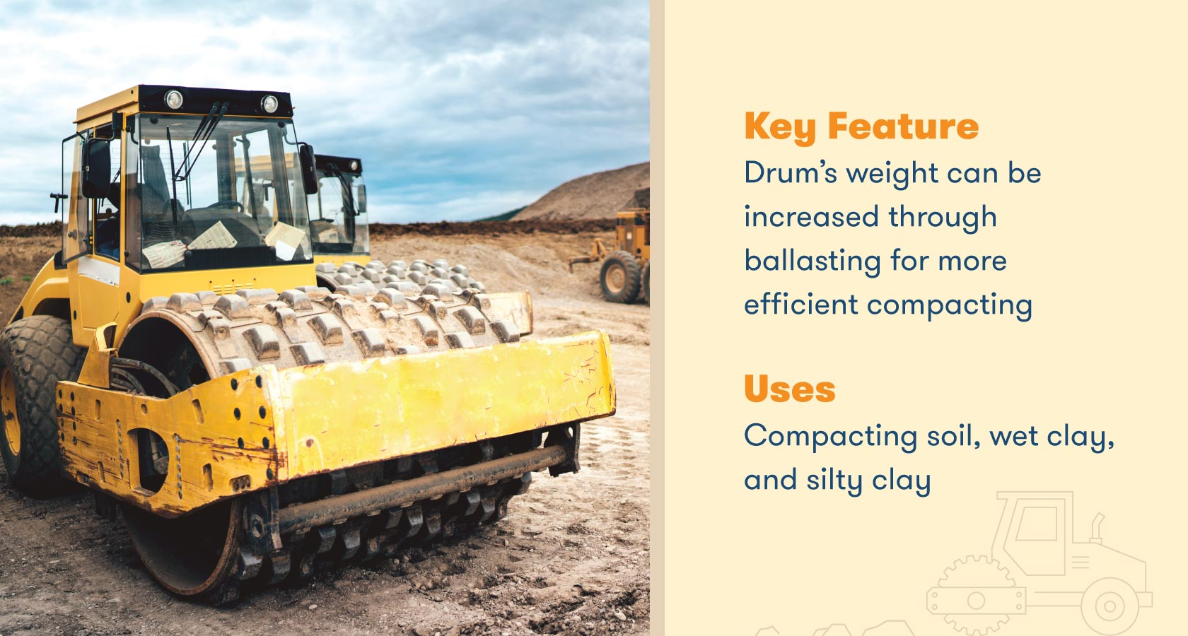 Drum's weight can be increased through ballasting for more efficient compacting