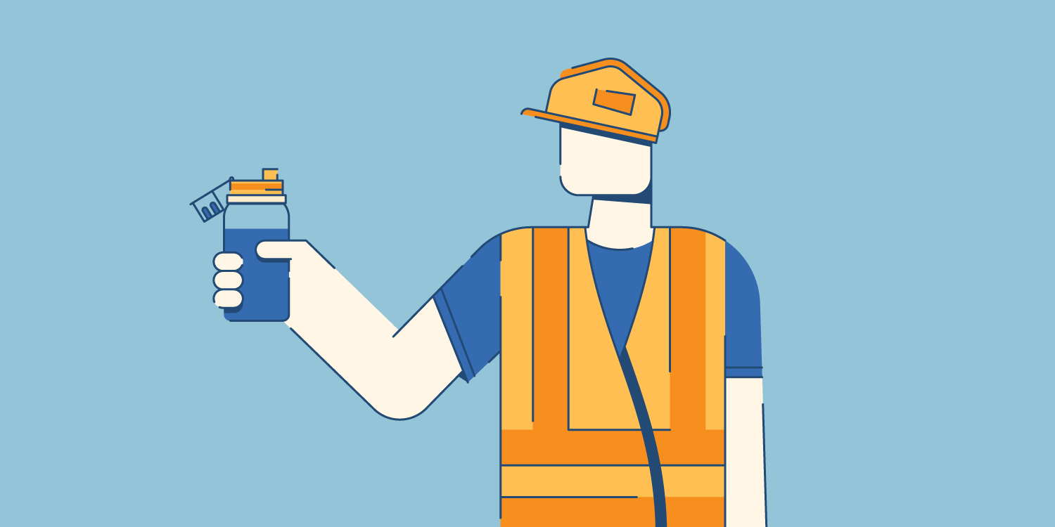 illustration of a construction worker staying hydrated